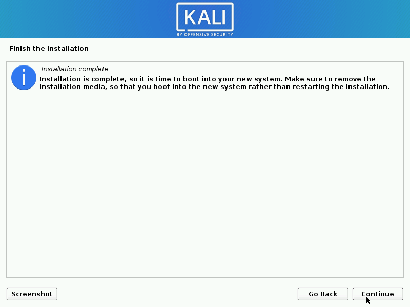 Kali Linux Installation Completed on Hard Disk