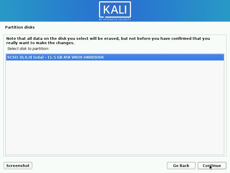 Kali Linux Installation Disk