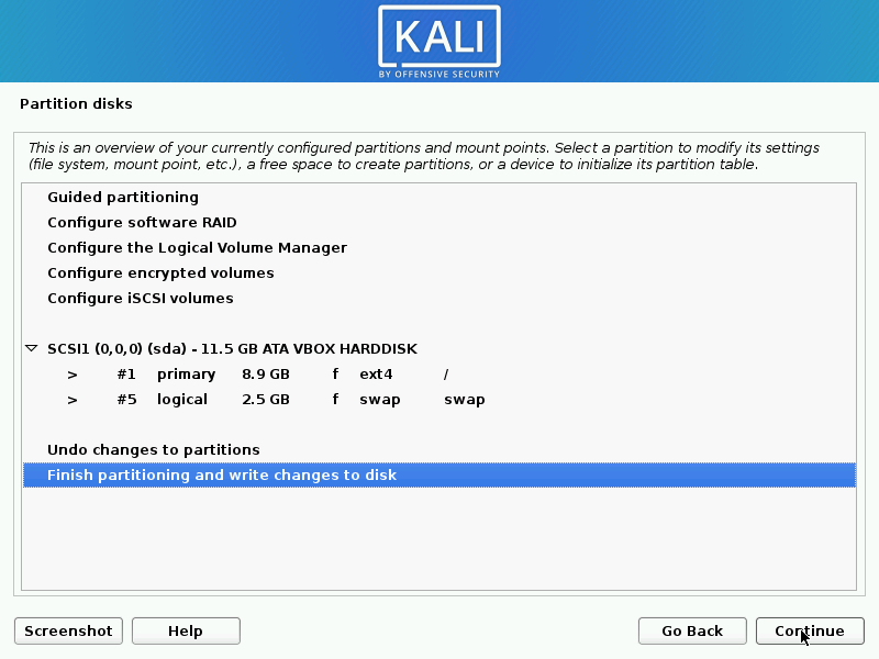 Validate Partitioning for Kali Linux Installation